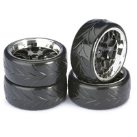 "Absima Wheel Set Drift LP "" Comb / Profile A"" black/chrome 1:10 (4 pcs)"