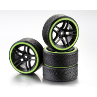 "Absima Wheel Set Drift 10-Spoke ""Profile B"" Rim black/Ring neon yellow 1:10 (4)"