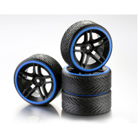 "Absima Wheel Set Drift 10-Spoke ""Profile A"" Rim black/Ring blue 1:10 (4)"