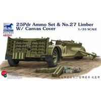 Bronco AB3551 1/35 25pdr Ammo set & No.27 Limber w/ Canvas Cover Plastic Model Kit