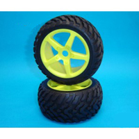 GV D06B02NRSYE 1/6 BUGGY TIRE<NR> + 1/6 RACING WHEEL YELLOW + FOAM W/GLUED