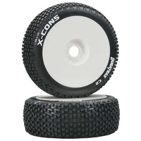 Duratrax 1/8 X-Cons Buggy Tire C2 Mounted White, 2pcs