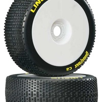 Duratrax 1/8 Lineup Buggy Tire C2 Mounted White, 2pcs