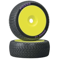 Duratrax 1/8 Posse Buggy Tire C2 Mounted Yellow, 2pcs