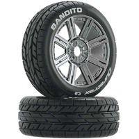Duratrax Bandito Buggy Tire C2 Mounted Spoke Black/Chrome