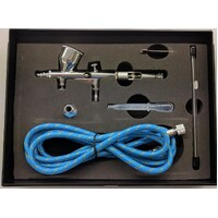 HOBBY AIRBRUSH KIT - DUAL ACTION GRAVITY FEED WITH AIR HOSE - NHDU-80K