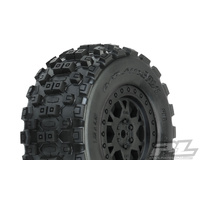 PROLINE BADLANDS MX SHORT COARSE 2.2/3.0 M2 MEDIUM TIRES ON IMPULSE BLACK FR-RR WHEELS 2PCS - PR10156-33