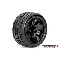 ROAPEX TRIGGER 1/10 STADIUM TRUCK TIRE BLACK WHEEL WITH 1/2 OFFSET 12MM HEX MOUNTED