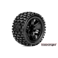 ROAPEX TRACKER 1/10 STADIUM TRUCK TIRE BLACK WHEEL WITH 1/2 OFFSET 12MM HEX MOUNTED