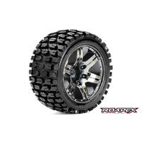 ROAPEX TRACKER 1/10 STADIUM TRUCK TIRE CHROME BLACK WHEEL WITH 1/2 OFFSET 12MM HEX MOUNTED