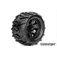 ROAPEX MORPH 1/10 MONSTER TRUCK TIRE BLACK WHEEL WITH 1/2 OFFSET 12MM HEX MOUNTED