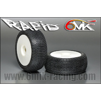 "6Mik ""Rapid""  Tyres glued on rims - 15/25 compound (pair) White Rims"
